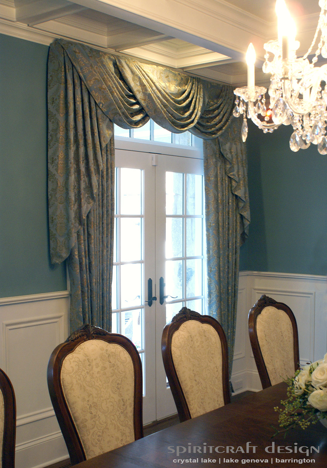 Lake Forest drapery panels with swag and dining chair upholstery by Spiritcraft Interior Design of Crystal Lake Illinois