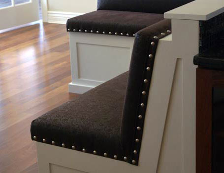 Custom banquette upholstery in crystal lake, illinois by spiritcraft interior design
