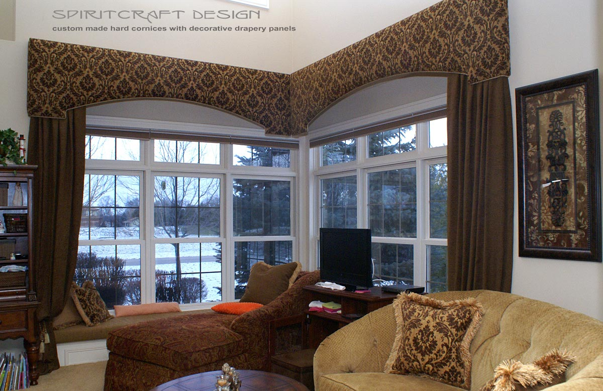Custom window treatments drapery valance swags in for Custom window treatments