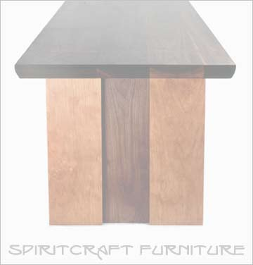 Handcrafted tables, consoles and furniture in mid century, prairie and shaker designs by Spiritcraft Interior Design of Crystal Lake, IL made in the USA
