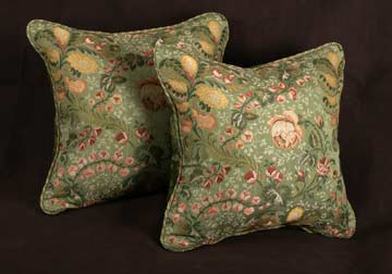 custom made floral and velvet decorative pillows in Elmhurst by Spiritcraft Interior Design in Crystal Lake and Barrington, Illinois