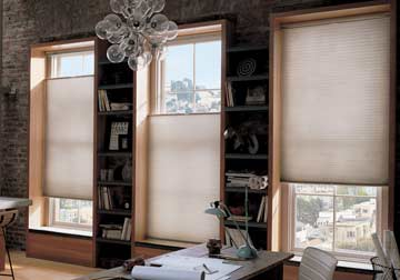 custom window treatments and Hunter Douglas Duette shades for any decor in Libertyville, Chicago Suburbs,Barrington and Glenview, IL by Spiritcraft Interior Design