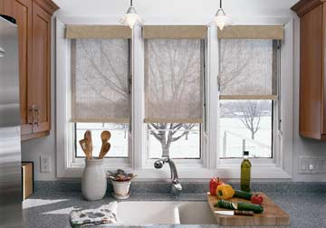 Custom window treatments and kitchen window shades by Spiritcraft Interior Design of Crystal Lake and Barrington, Illinois